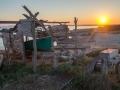 Bootshütte zum Sonnenuntergang